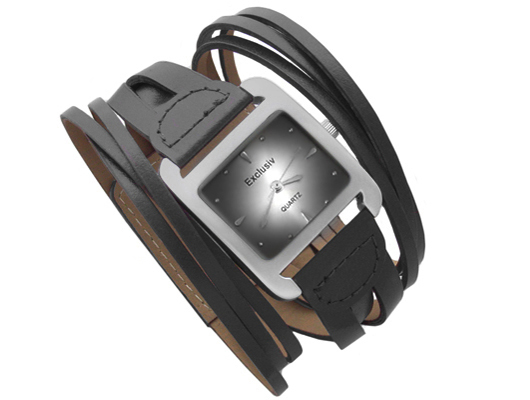 Damenuhren schwarz silber  Limited Edition Designer Damenuhr Lederarmband 3 Farben n.a. ...