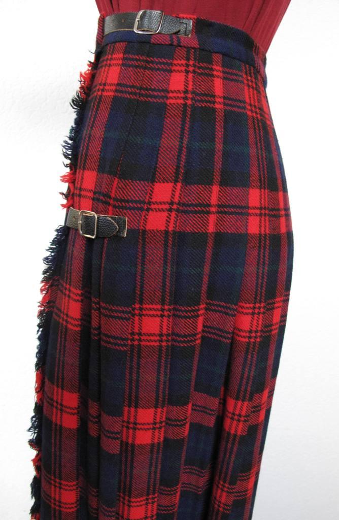 maxi schottenrock lang tartan wolle kilt true vinage 70er 80er wickelrock gr 34 ebay. Black Bedroom Furniture Sets. Home Design Ideas